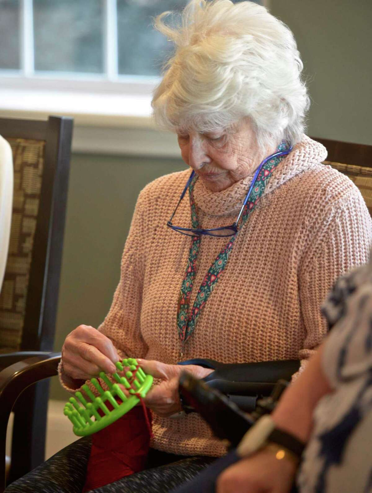 Eliza Dalzell knits in January 2019 as part of the