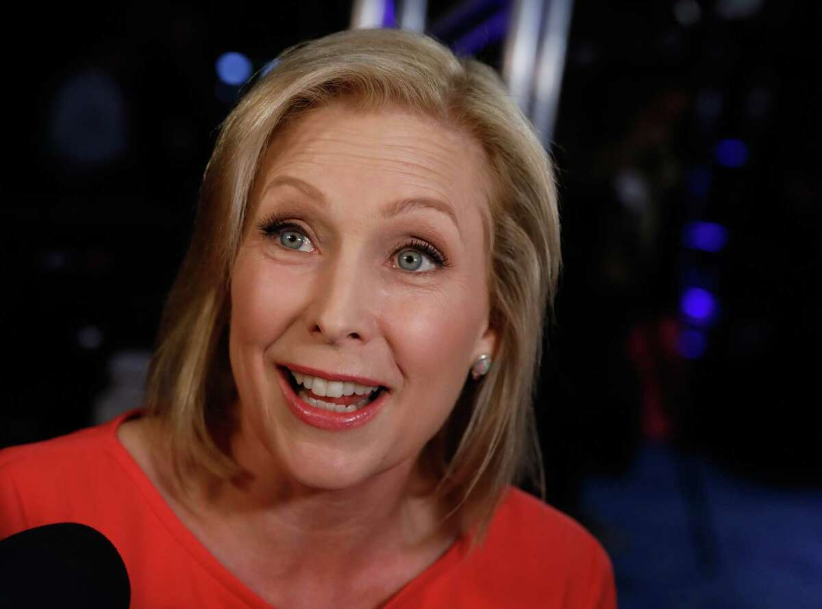 Democratic presidential hopeful US Senator from New York Kirsten Gillibrand speaks to the press in the spin room after the second round of the second Democratic primary debate of the 2020 presidential campaign season hosted by CNN at the Fox Theatre in Detroit, Michigan on July 31, 2019. (Photo by Jeff Kowalsky / AFP)JEFF KOWALSKY/AFP/Getty Images