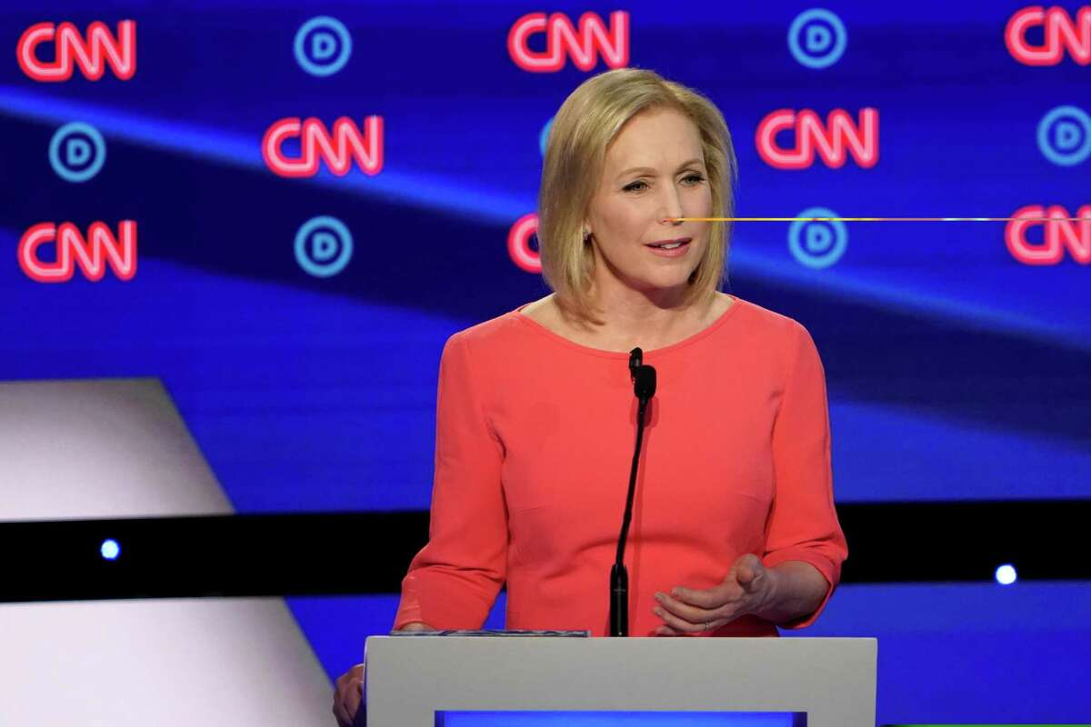 Sen. Kirsten Gillibrand (D-N.Y.) speaks during the second night of Democratic presidential debates, hosted by CNN at the Fox Theatre in Detroit, July 31, 2019.