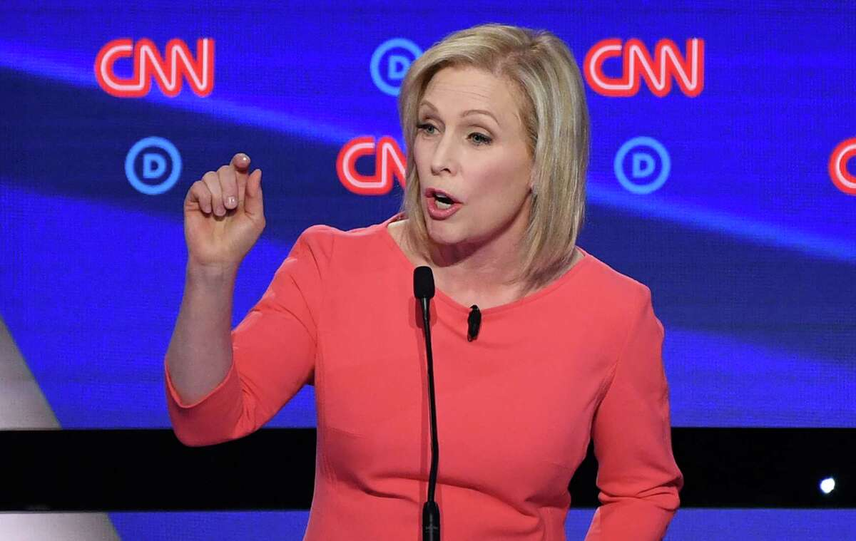 Democratic presidential hopeful US Senator from New York Kirsten Gillibrand speaks during the second round of the second Democratic primary debate of the 2020 presidential campaign season hosted by CNN at the Fox Theatre in Detroit, Michigan on July 31, 2019. (Photo by Jim WATSON / AFP)JIM WATSON/AFP/Getty Images