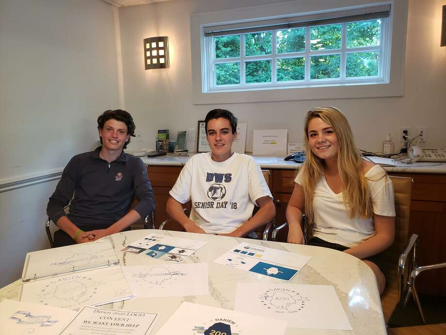 Three rising seniors — Charlie Callery, Will Henry Harmon, and Kelly Niederreither — created a logo that will be used to celebrate the town's 200th anniversary in 2020. Photo: Sandra Diamond Fox / Hearst Connecticut Media / Connecticut Post