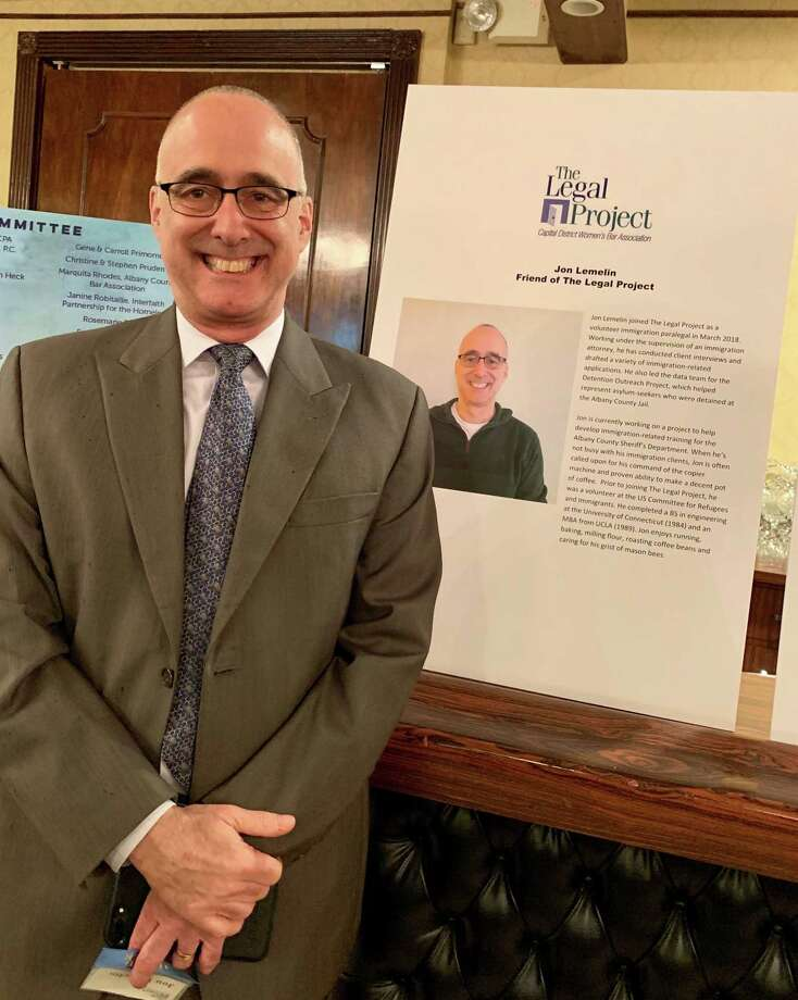 Jon Lemelin, a retired Niskayuna resident, was honored for his volunteer work with The Legal Project, a non-profit organization offering free legal help for low-income people, including immigrants. Photo: Courtesy Of Jon Lemelin