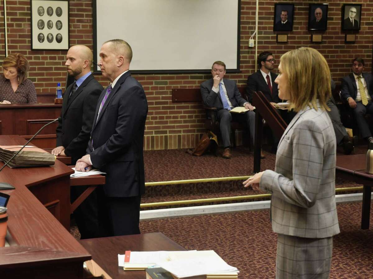 Eric Rosenbrock, far left, his attorney, David Taffany, second from left, and Saratoga County Assistant District Attorney Michele Schettino, right, appear in Saratoga County Court on Thursday, August 1, 2019, in Ballston Spa, N.Y. Rosenbrock, who is accused of shooting and killing wife, was arraigned on Thursday. (Paul Buckowski/Times Union)