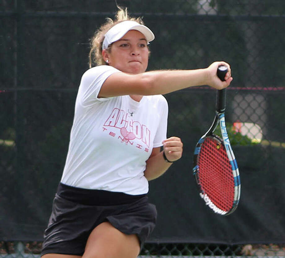 Hannah Macias of Alton is one of the many area netters who has taken part in the summer tennis tournaments offered in the Riverbend. She played in the Alton Closed Doubles Tourney this summer and finished second with partner Molly Gross in the 18s Division. Macias is a recent Alton High graduate. Photo: Telegraph Photo