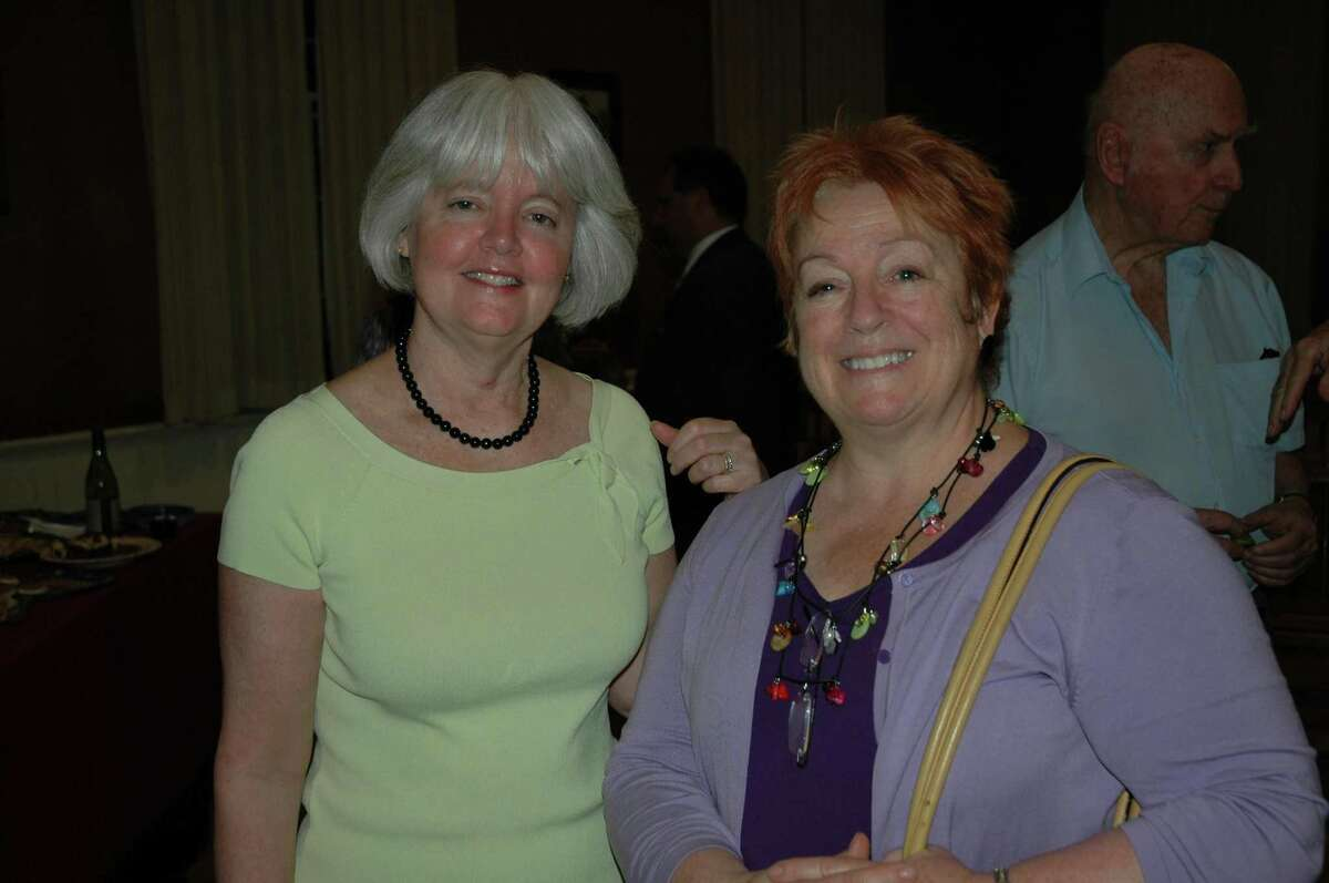 Peggy Reeves, left, with Carole Young-Kleinfeld, who succeeded her as the Democratic Registrar of Voters in Wilton. Young-Kleinfeld has since retired from that position.