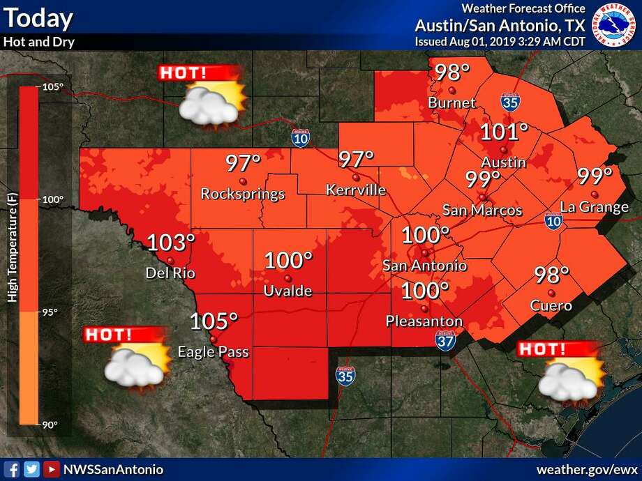 According to National Weather Service meteorologist Nick Hampshire, San Antonians will experience high temperatures in the upper 90s to the low 100s until Saturday. Photo: Twitter: NWS