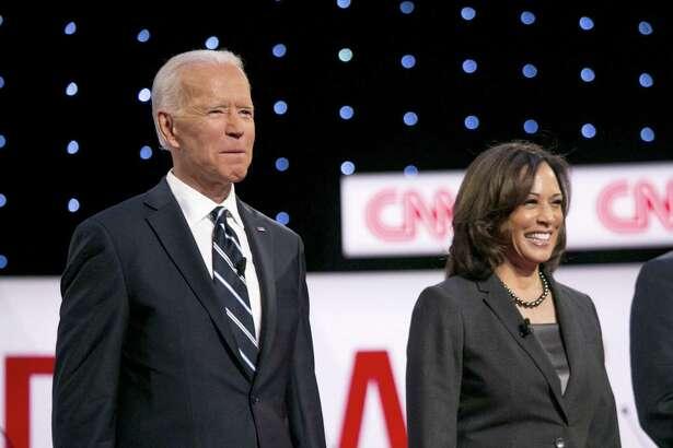 Former Vice President Joe Biden and Sen. Kamala Harris, D-Calif., during of the Democratic presidential candidate debate in Detroit on July 31, 2019.
