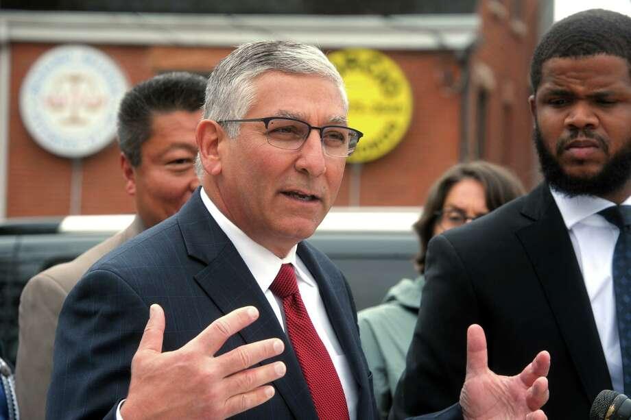 State Sen. Minority Leader Len Fasano speaks at a press conference in front on Bridgeport Police Headquarters, in Bridgeport, Conn. May 30, 2019. Photo: Ned Gerard / Hearst Connecticut Media / Connecticut Post