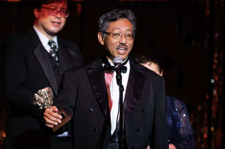 """Steve Wong accepts the Montie for Best Featured Actor in a Musical for """"Young Frankenstein"""" during the Montie Awards Celebration on Saturday, Aug. 11, 2018, at the Crighton Theatre. This year's Montie Awards are set for Saturday, Aug. 10, at the Crighton Theatre. Photo: Michael Minasi, Staff Photographer / Houston Chronicle / © 2018 Houston Chronicle"""