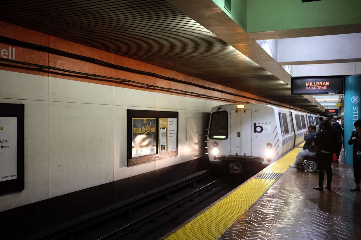 The Millbrae BART train arrives at Powell Street Station. At 4 p.m., ahead of the worst part of the evening commute, this train might be crowded, but often seats are available.