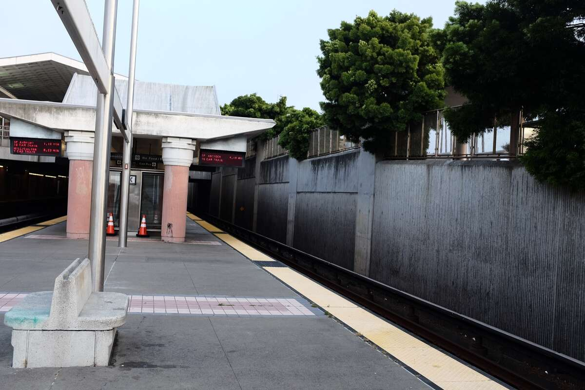 At 6:48 a.m. on a weekday, no one is waiting on the Colma Station platform.