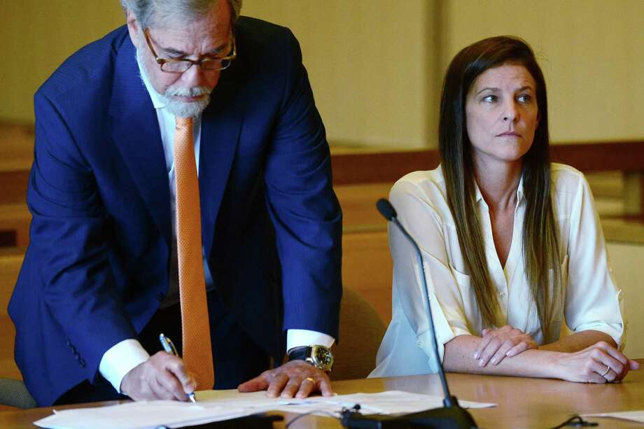 Michelle Troconis attends her hearing on Friday, June 28, 2019, with her attorney Andrew Bowman. Photo: Erik Trautmann / Hearst Connecticut Media / Norwalk Hour