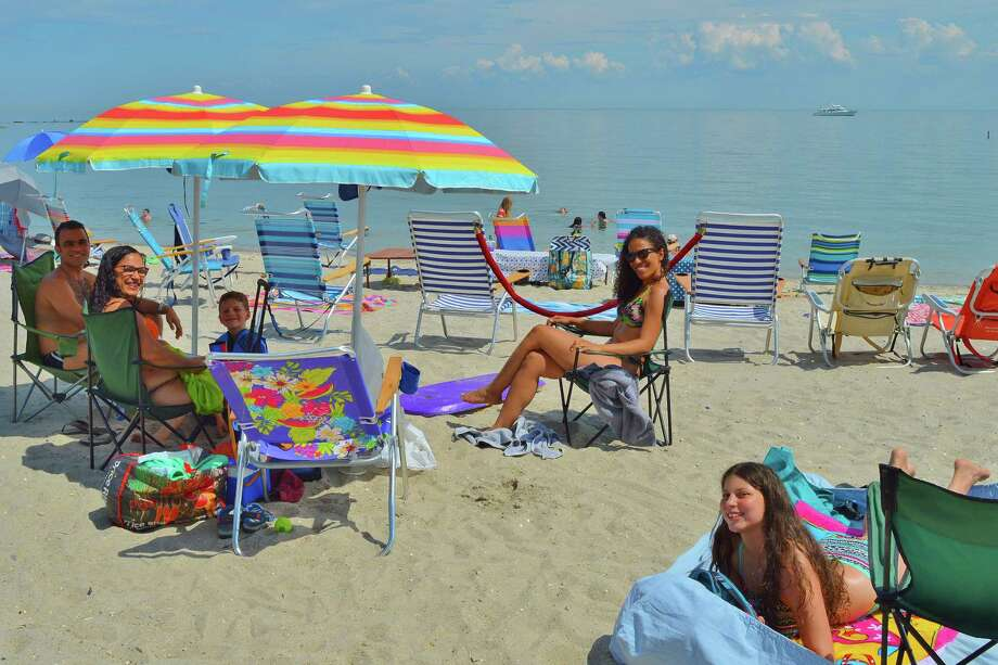 The Dini family from Westport at Compo Beach for the fireworks display. Photo Todd Tracy 7/3/2019 Photo: /File Photo