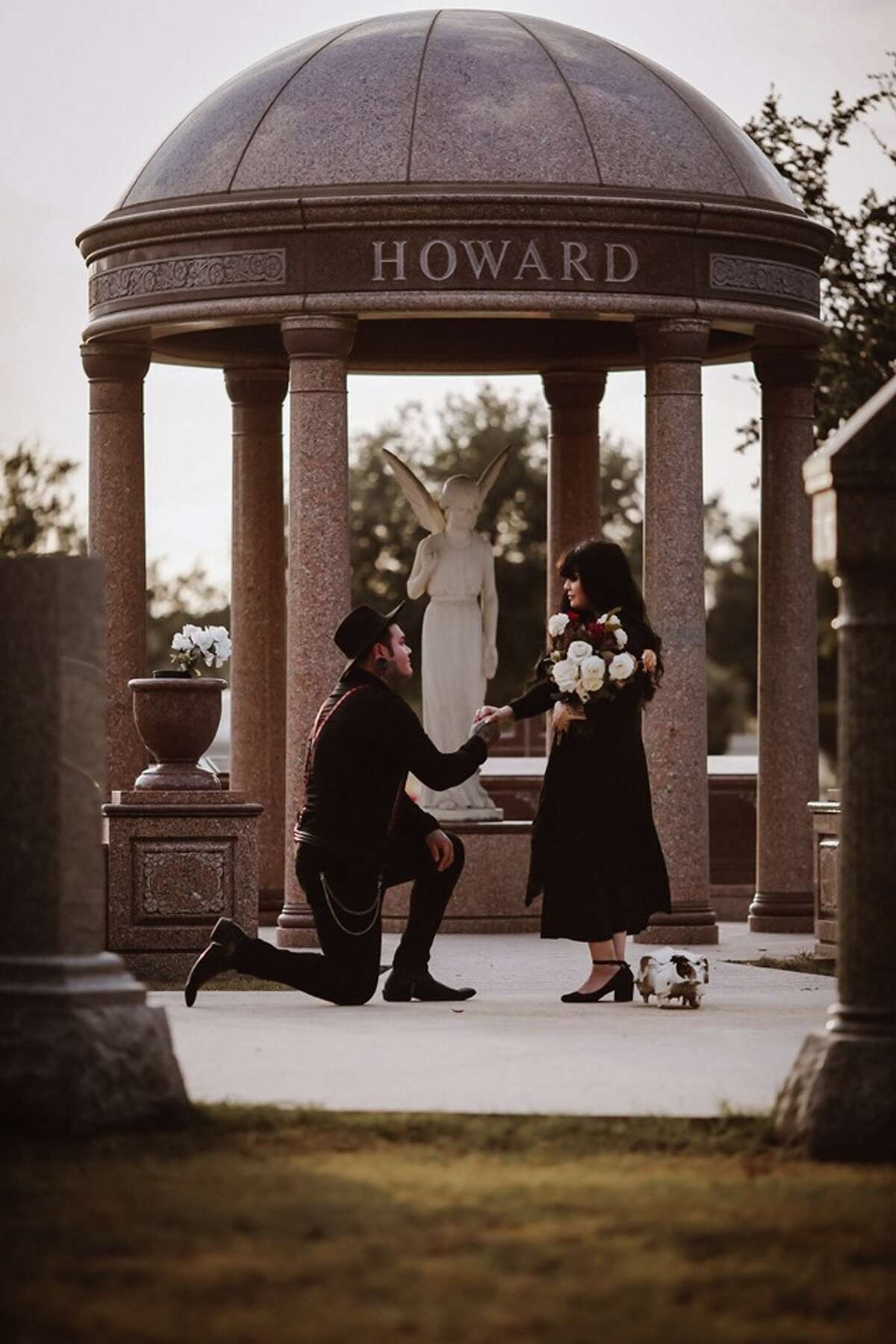 Blossom Morales and her soon-to-be husband Zachery Purser worked with local photographer Savannah Saunders to create a collection of photos to reflect the love they share for each other and the macabre. Morales said Saunders, of Photography by Savannah B, was just as enthused as the couple to conjure up their deadly idea, at Mission Park's cemetery near the Dominion.