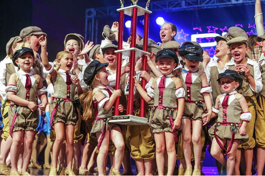 Members of Jennifer Bishop's School of Dance celebrate being named overall national champions at the Platinum National Dance Competitions in Savannah, Georgia, June 11-15.