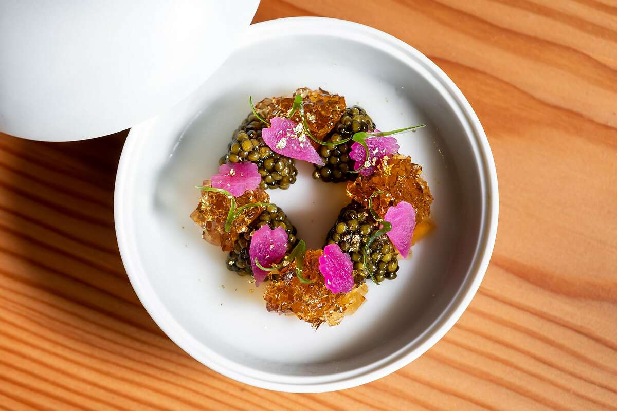 Maum Caviar, Radish, and Charred Onion at Maum in Palo Alto, Calif. on Friday, April 26, 2019.