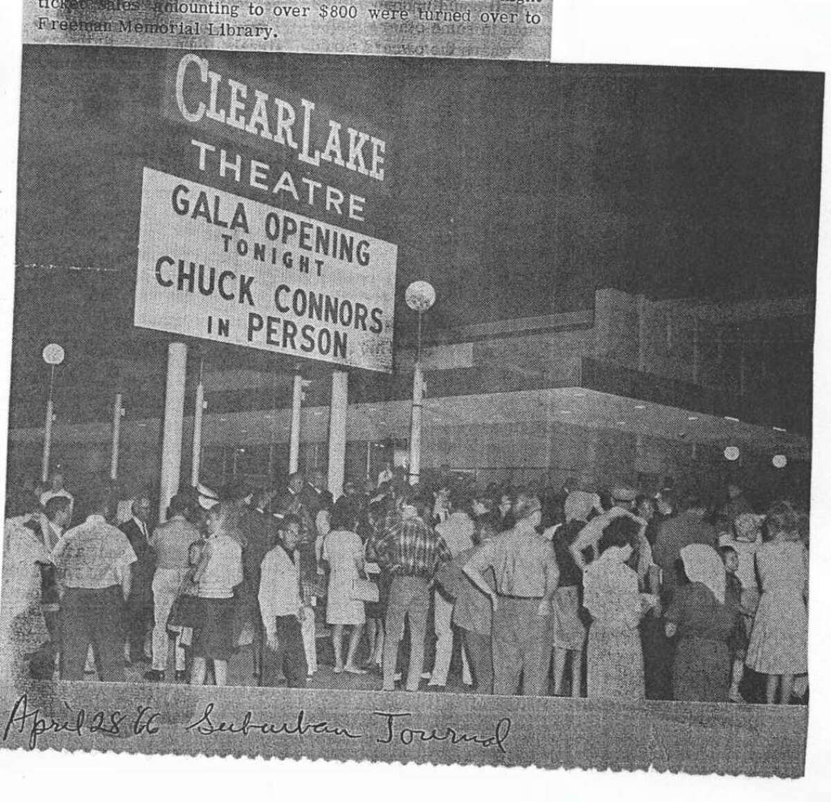 """The opening of the Clear Lake Theatre in 1966 included an appearance by Chuck Connors, who had starred in the television show """"The Rifleman."""""""