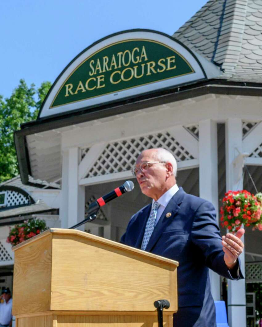 Congressman Paul Tonko speaks about the Horse Integrity Act during a press conference at the Saratoga Race Course in Saratoga Springs, N.Y. Thursday, Aug. 1, 2019 in Saratoga Springs, N.Y. Photo Special to the Times Union by Skip Dickstein.