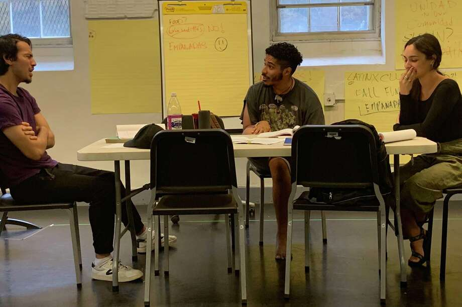 "From left, Dario Ladani Sanchez, Robert Hart and Jackeline Torres Cortes rehearse ""Latinos Who Look Like Ricky Martin"" at Yale Summer Cabaret. Photo: Estefani Castro / Contributed Photo"