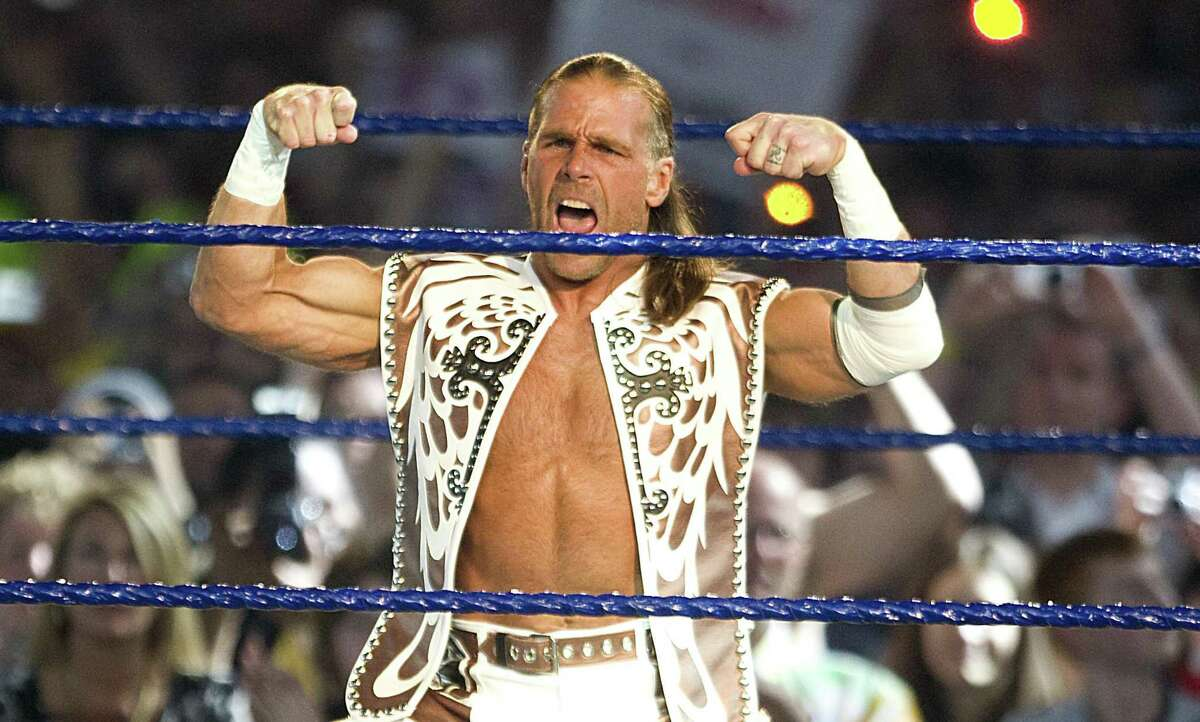 """HOUSTON - APRIL 05: Shawn Michaels makes his intro as he takes on The Undertaker at """"WrestleMania 25"""" at the Reliant Stadium on April 5, 2009 in Houston, Texas. (Photo by Bob Levey/WireImage)"""
