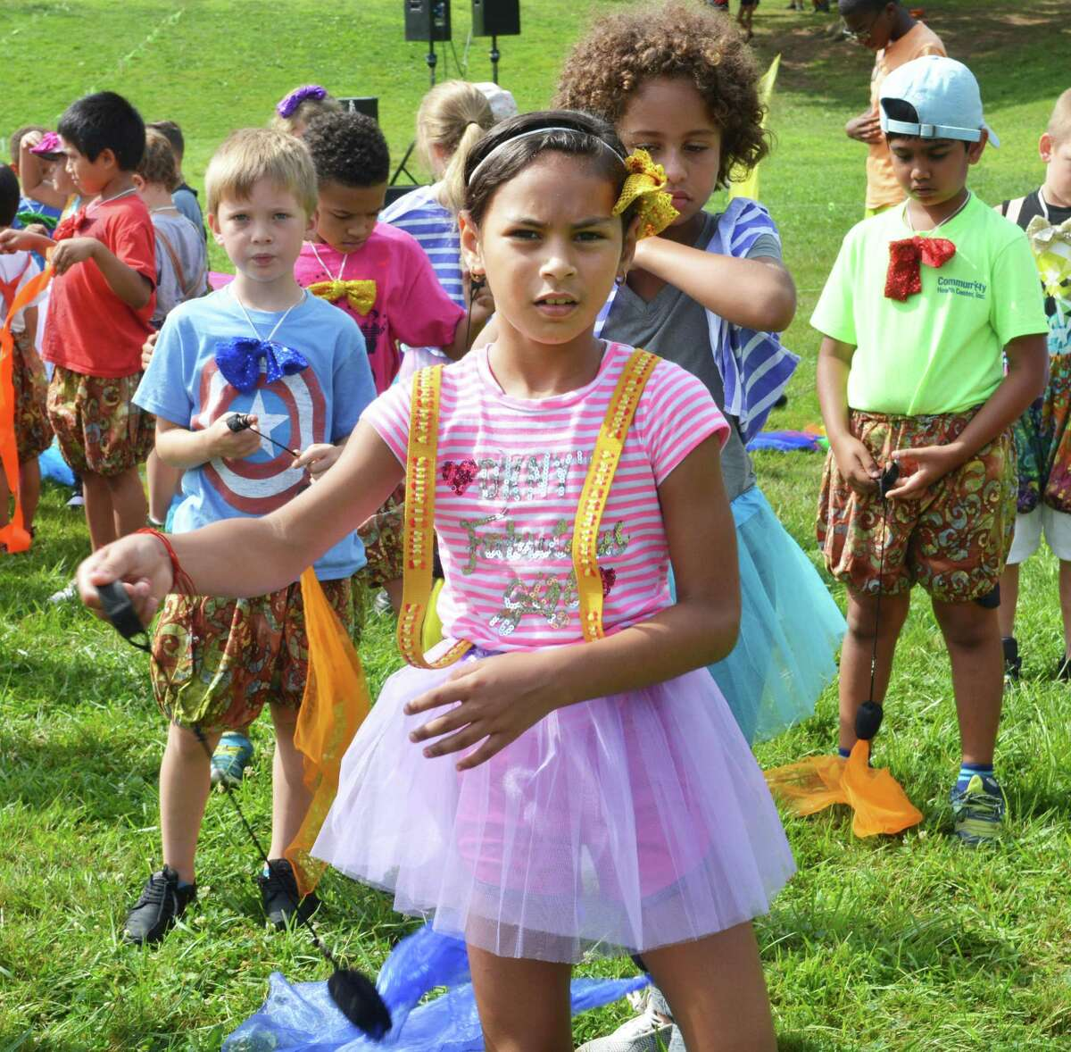 """Children filled Macdonough Elementary School field Thursday during dress rehearals of the 31th annual Children's Circus of Middletown, """"(Almost) Everything Goes!"""""""
