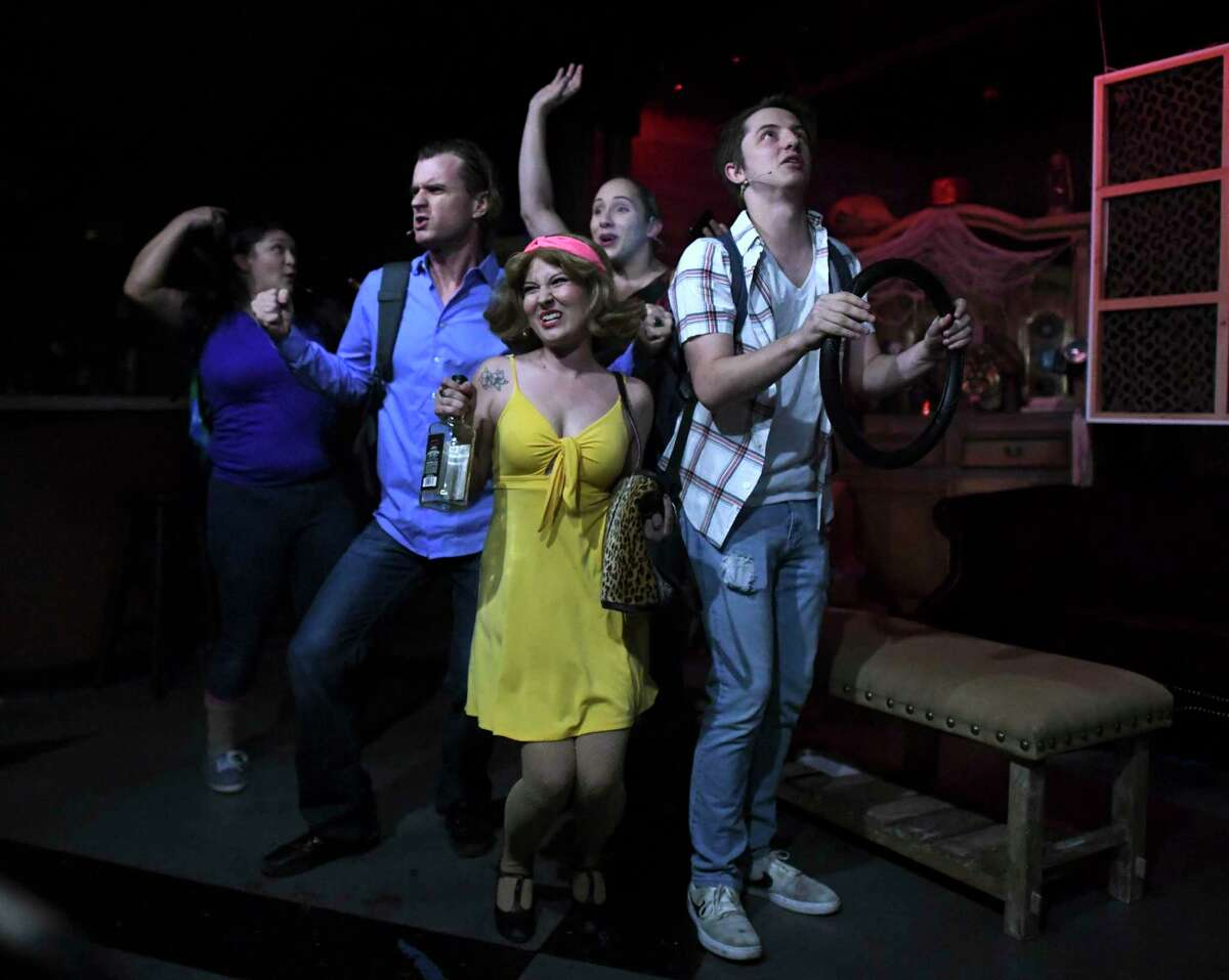 """The cast of the Roxie Theatre's staging of """"The Evil Dead"""" includes, from left, Jovi Lee, Jonathan Pennington, Alexandra Holdbrook, Justine James and Paden Mercer."""