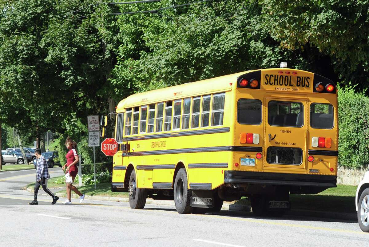 Traffic on Hillside Road in front of Greenwich High School during dismissal on the first day of school in Greenwich, Conn., Thursday, August 30, 2018.
