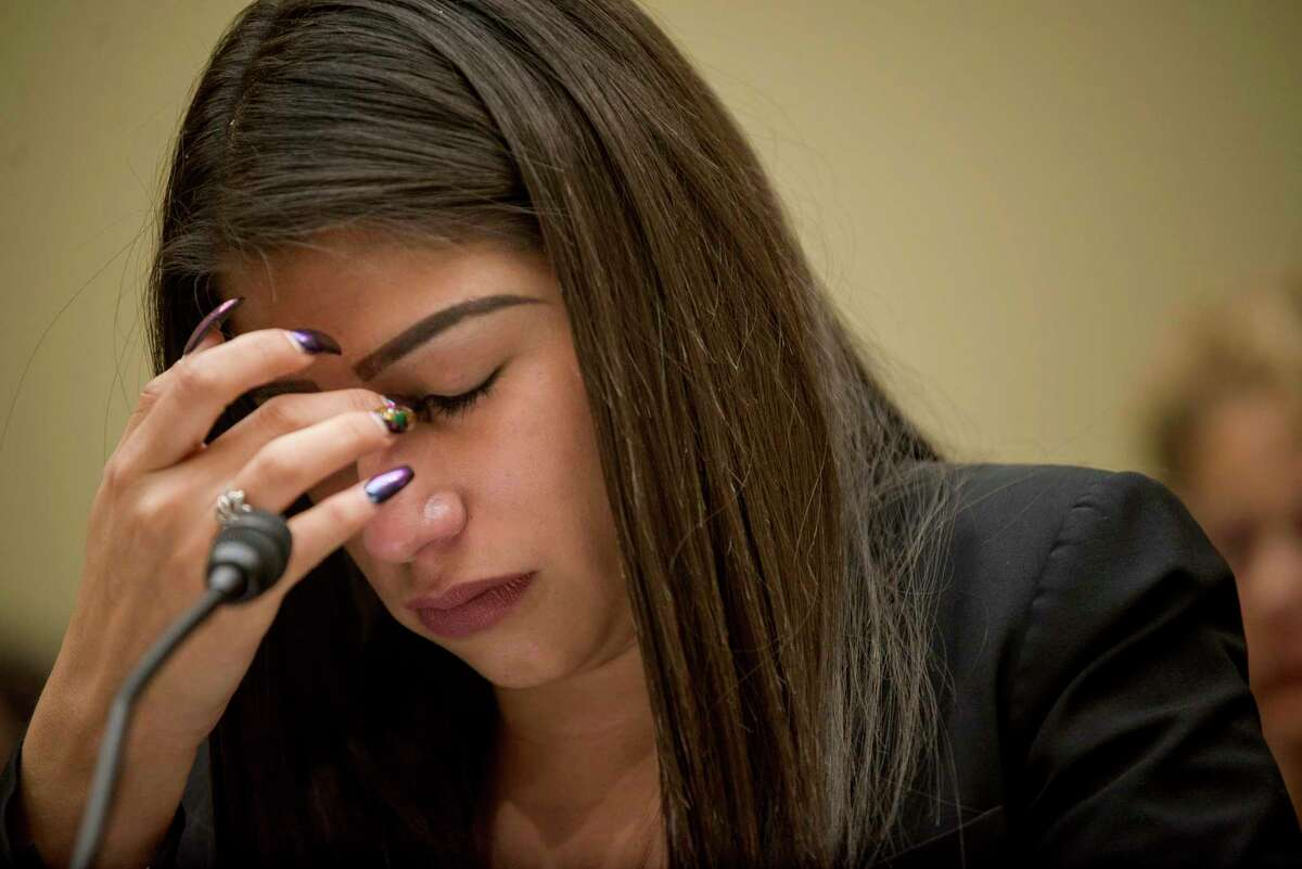 Yazmin Ju‡rez, a migrant mother whose 19-month old daughter died while in U.S. custody, while testifying before a subcommittee of the House Oversight and Reform Committee on Capitol Hill, in Washington, July 10, 2019. Ju‡rez had fled with her daughter to the U.S. from Guatemala. (Gabriella Demczuk/The New York Times)