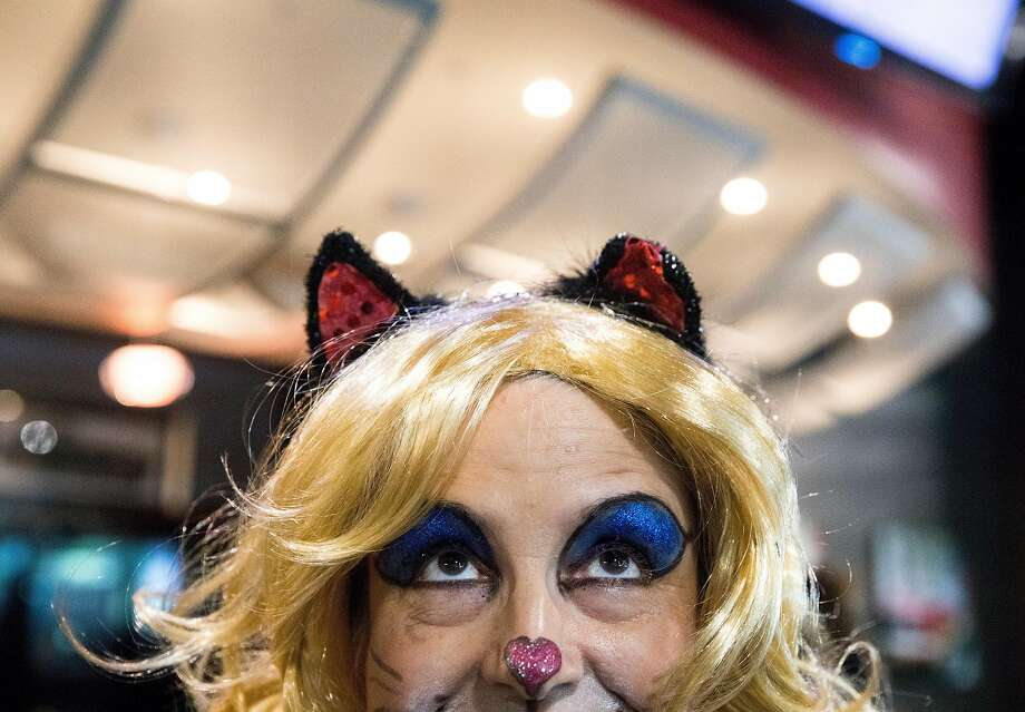 Valerie Heimerich of Sassy Static wears cat-theme makeup at the Silicat Valley Cat Convention and Festival in San Jose. Photo: Jessica Christian / The Chronicle