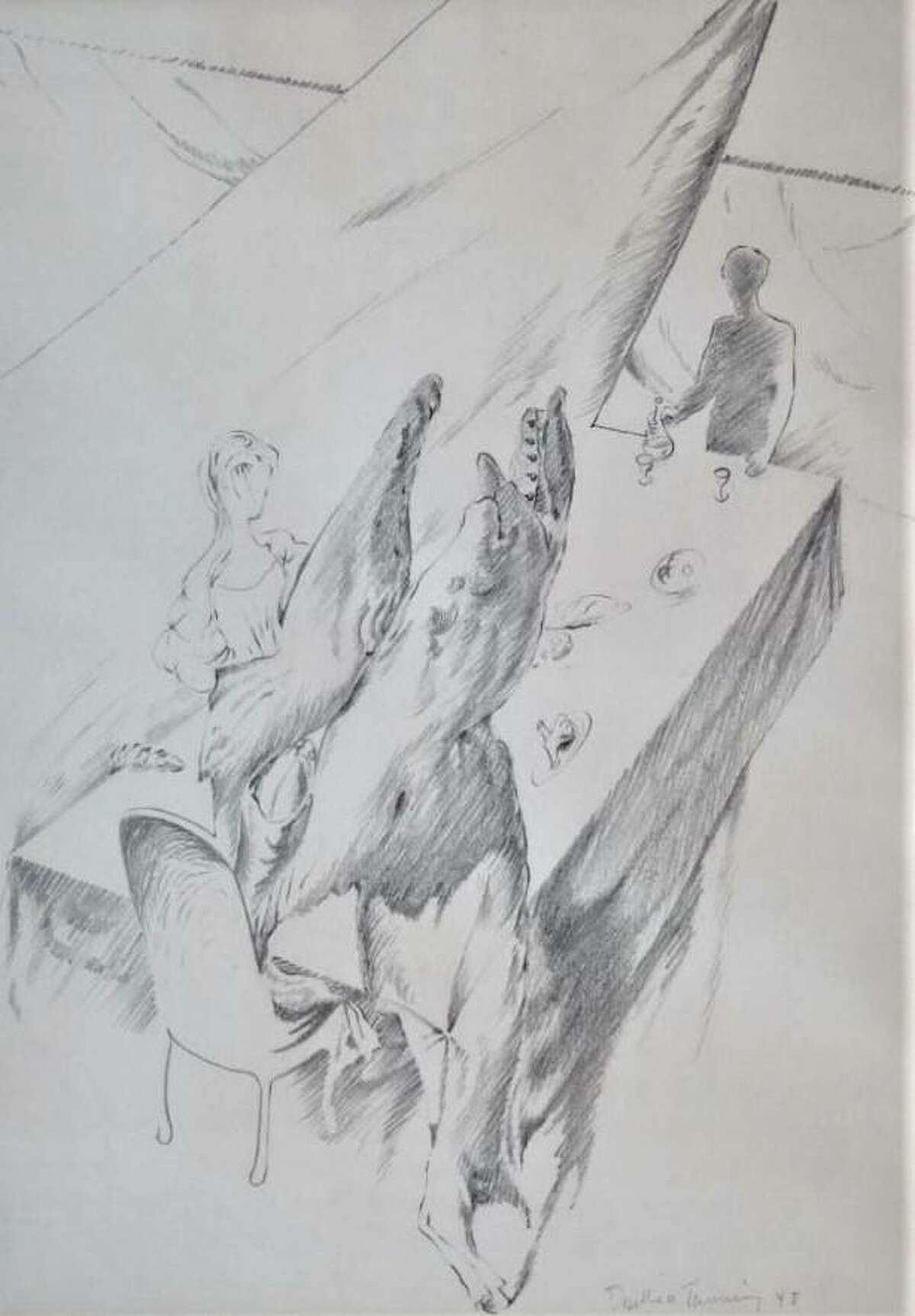 """Dorothea Tanning's pencil study for """"My Dinner Party"""" is on view in """"Women Surrealists"""" at Redbud Gallery through Aug. 27."""