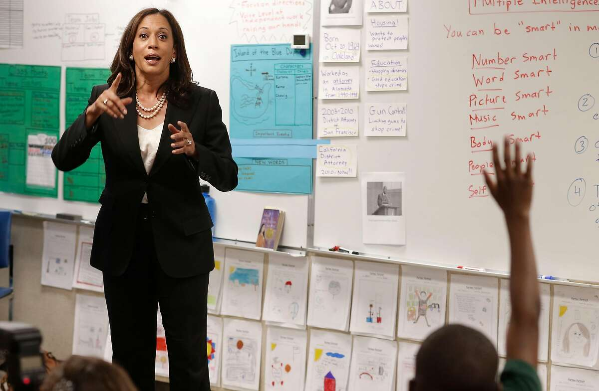 California State Attorney General Kamala Harris speaks to a fifth grade class of students, during a visit to East Oakland Pride Elementary school in Oakland, Calif., as seen on Thursday Sept. 4, 2014. Harris today announced that a package of legislation to help local school districts and communities address California's elementary school truancy crisis has passed both legislative houses and is on the way to the Governor's desk.