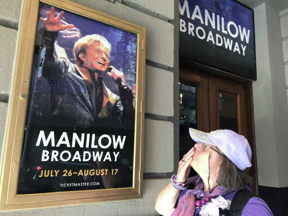 Betsy Richardson outside the Lunt-Fontanne Theatre in Manhattan (photo by Amy Biancolli)