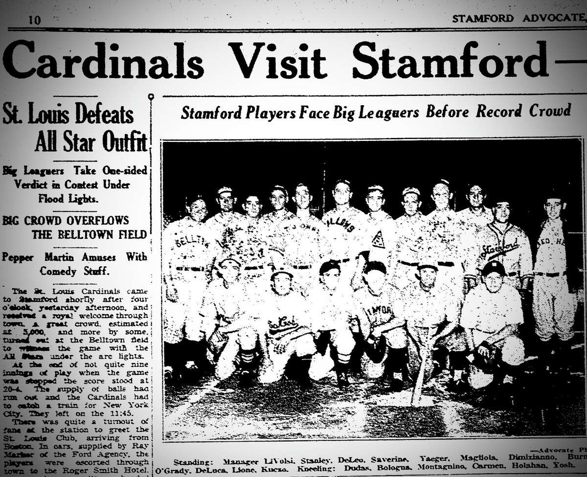1938 Stamford Advocate story about St. Louis Cardinals' Gas House Gang playing an exhibition game against Stamford All-Stars.