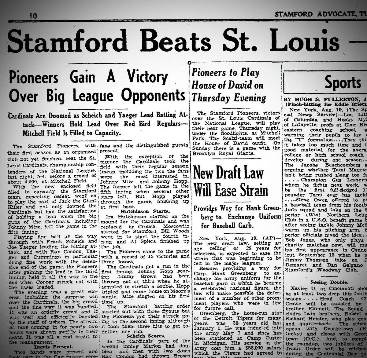 The Stamford Advocate coverage of the St. Louis Cardinals' 1941 exhibition game against a local baseball team.