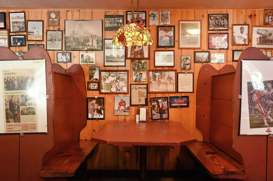 The booths at Canyon Inn, which were hand built by Tim Harrison and his friends. Photo: Blair Heagerty / SFGate