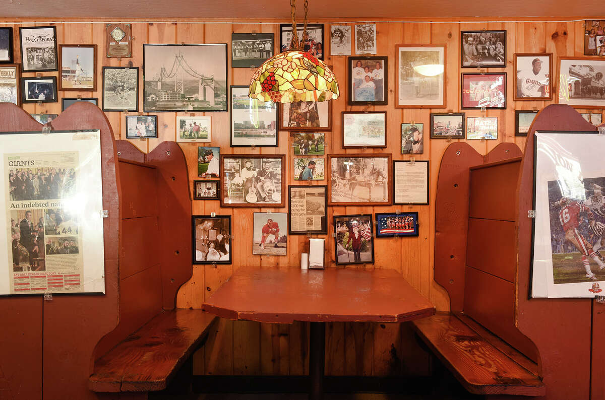 The booths at Canyon Inn, which were hand built by Tim Harrison and his friends.