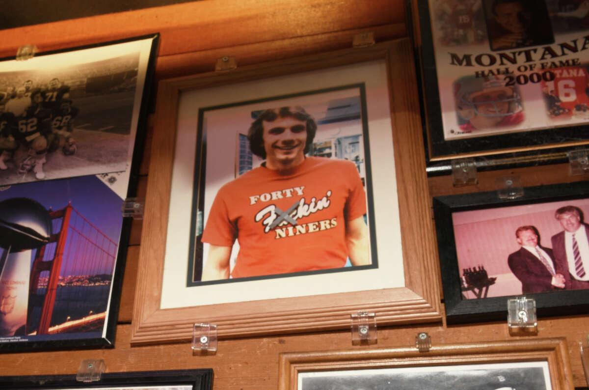 A picture of San Francisco great Joe Montana hangs inside legendary 49ers bar Canyon Inn in Emerald Hills.