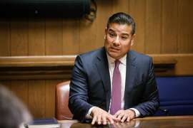 Senator Richard Lara, candidate for state insurance commissioner, addresses the San Francisco Chronicle Editorial Board on Thursday, April 26, 2018 in San Francisco, Calif.