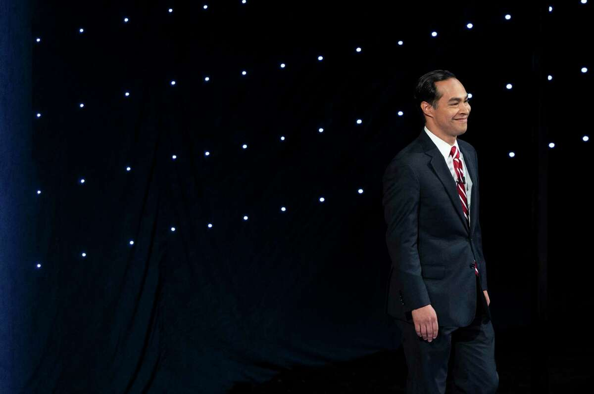 Former Housing Secretary Julian Castro takes the stage before the start of the second night of Democratic presidential debates, hosted by CNN at the Fox Theatre in Detroit, July 31, 2019. (Erin Schaff/The New York Times)