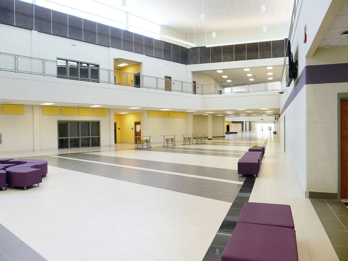Photos taken from an early preview show the inside of the newly-built Lyndon B. Johnson High School 9th grade campus.