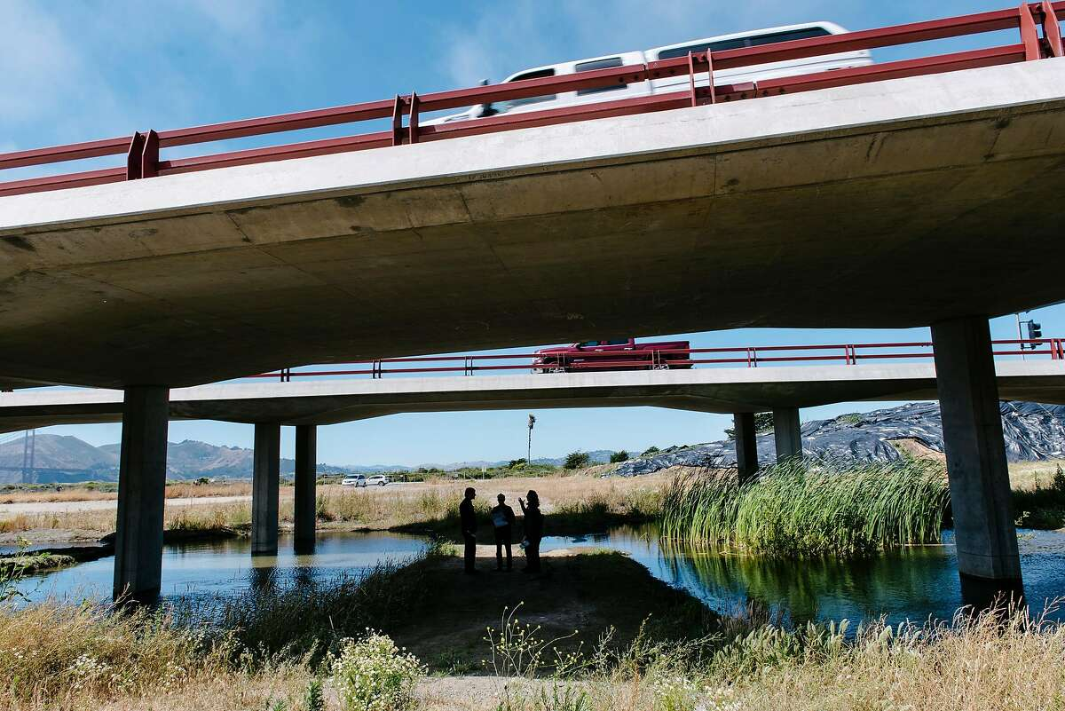 In the shadows of the 101 Freeway's Doyle Drive overpass, members of the Presidio Trust talk about upcoming renovations of Quartermaster Reach, a 6-acre area of the Tennessee Hollow Watershed that will be used to expand Crissy Marsh, during a tour of the area in San Francisco, Calif., on July 11th, 2019.
