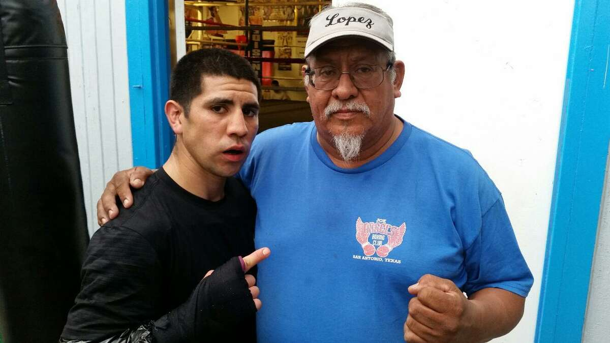 Boxer James Cantu (left) is currently undefeated and being trained locally by Ray Lopez.