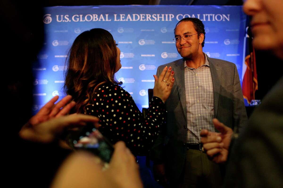 U.S. Representative Will Hurd talks with attendees after participating in a Foreign Policy Forum on U.S. National Security and Texas Jobs hosted by the U.S. Global Leadership Coalition at the Marriott San Antonio Riverwalk on Thursday, May 31, 2018.
