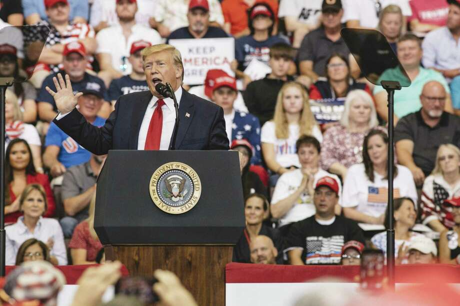 "CINCINNATI, OH - AUGUST 01: President Donald Trump speaks at a campaign rally at U.S. Bank Arena on August 1, 2019 in Cincinnati, Ohio. The president was critical of his Democratic rivals, condemning what he called ""wasted money"" that has contributed to blight in inner cities run by Democrats, according to published reports. (Photo by Andrew Spear/Getty Images) Photo: Andrew Spear / Getty Images / 2019 Getty Images"