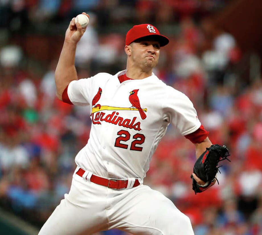 Cardinals pitcher Jack Flaherty throws during the sixth inning against the Chicago Cubs on Thursday night at Busch Stadium. Photo: Associated Press