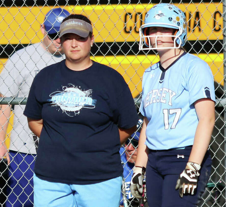 Jersey coach Chelsey Crnokrak (left) and Panthers baserunner Lauren Rexing watch a Columbia pitcher warmup after a change during the Class 3A regional title game May 24 in Jerseyville. Crnokrak is the 2019 Telegraph Large-Schools Softball Coach of the Year. Photo: Greg Shashack / The Telegraph