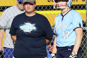 Jersey coach Chelsey Crnokrak (left) and Panthers baserunner Lauren Rexing watch a Columbia pitcher warmup after a change during the Class 3A regional title game May 24 in Jerseyville. Crnokrak is the 2019 Telegraph Large-Schools Softball Coach of the Year.