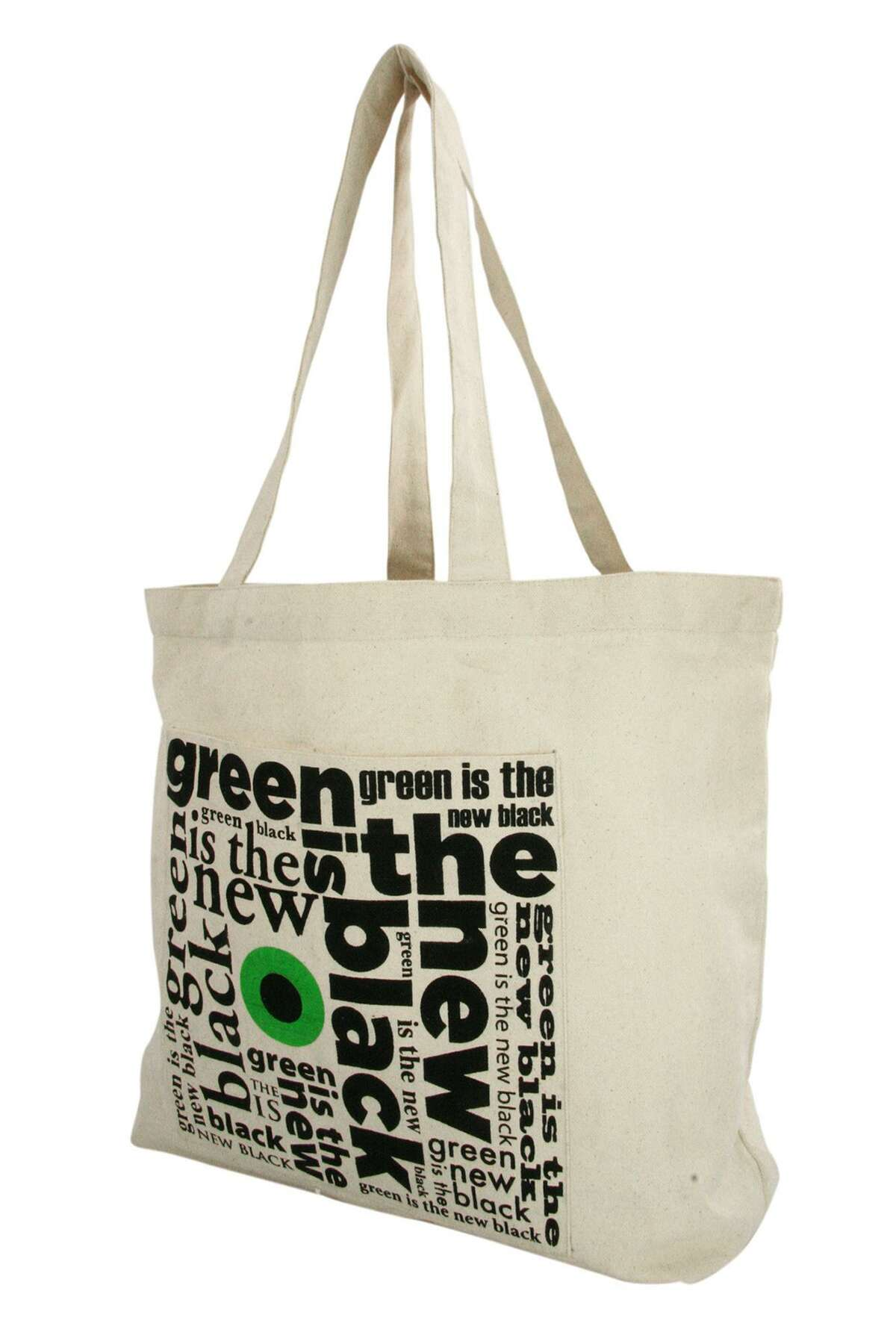 This product image released by The Rainforest Site shows The New Black Is Green tote made of 100 percent organic cotton.
