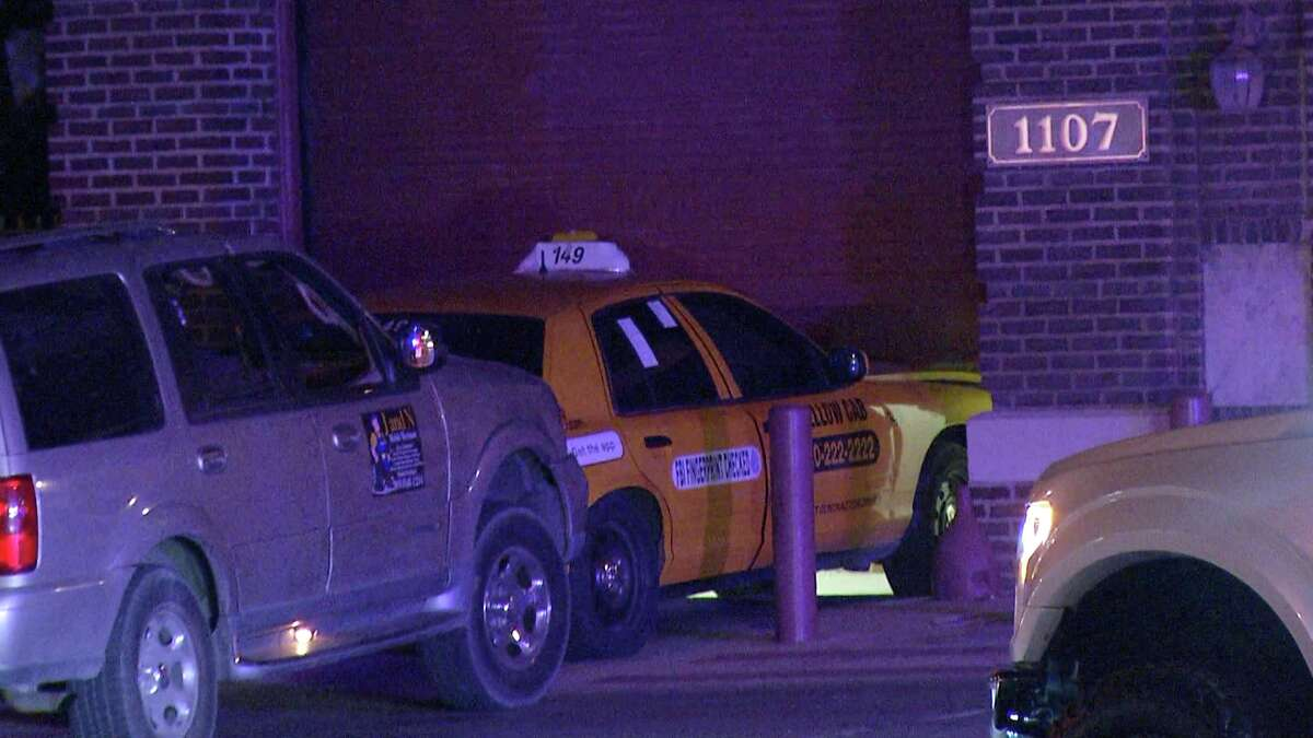 Two men were arrested Thursday night after chasing down a cab driver and causing him to crash into the garage of a fire station in the city's Northwest Side, according to San Antonio police.