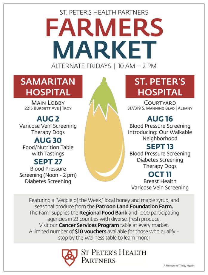 St. Peter's Health Partners announced Friday, Aug. 2, 2019 it's launching a series of biweekly farmers markets designed to combat food insecurity in Albany and Troy. The markets will be held on alternating Fridays at Samaritan Hospital in Troy and St. Peter's Hospital in Albany, from 10 a.m. to 2 p.m. Photo: Provided
